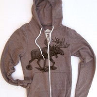 Unisex MOOSE (in Snow Shoes) Tri-Blend Coffee Hoody - American apparel XS S M L XL