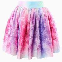 Mixed Colors Print Bow Mini Skater Skirt