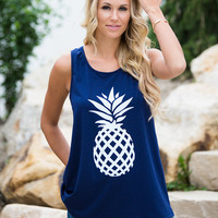 I Pine For You Pineapple Tank Navy