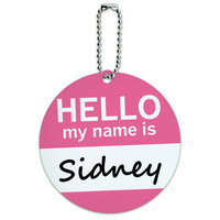 Sidney Hello My Name Is Round ID Card Luggage Tag
