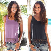 Summer Women's Fashion Round-neck Lace Sleeveless Tops T-shirts [6343464961]