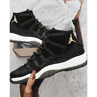 Air Jordan 11 New fashion hook high top men sports leisure shoes Black&White&Gray