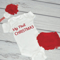 Infant Christmas Outfit Baby Girl First Christmas Outfit Newborn Girl 1st Christmas Bodysuit Headband Bloomers First Christmas Bodysuit 019