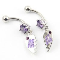 316L Stainless Steel 14G Purple Gems Set of Best Friend With Heart Dangle Navel Ring Belly Bar Stud Ball Barbell Body Piercing Kit 1 Pair: Jewelry