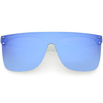 Kids Fantastic Translucent Oversize Mirrored  Shield Sunglasses D141