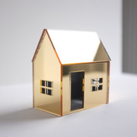 Golden miniature house structure in mirrored acrylic by 2of2