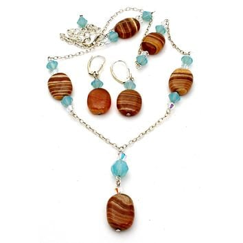 Sterling Silver Banded Agate Lavalier Necklace Set