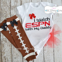 I watch ESPN with my daddy Girl Football Set