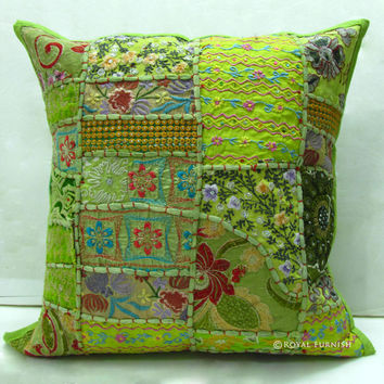 17 inch Indian Patchwork Throw Pillow Sham