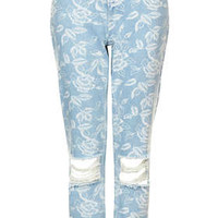 MOTO Scribble Floral Mom Jeans - Bleach Stone