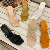 Women Outdoor Sandal High Square Heel Flip Flop Ladies Women Slipper Elegant Women Slides Shoes