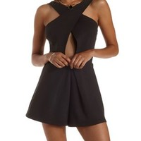 Black Cut-Out Crossover Wrap Romper by Charlotte Russe