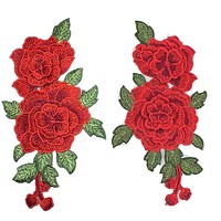 Red Rose Embroidered Sewing On Patch Flower Iron On Patch Stickers For Clothes Badge Sewing Fabric Applique Supplies