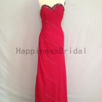 Red sweetheart chiffon prom dress with beading,long prom dresses,bridesmaid dress,chiffon prom dress,simple evening dress 2014,formal dress