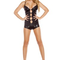 Black Cut-out Romper with O-Ring Detail