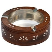 Handmade Wooden Round Ashtray with Floral Motifs & 3 Cigarette Holder Slots