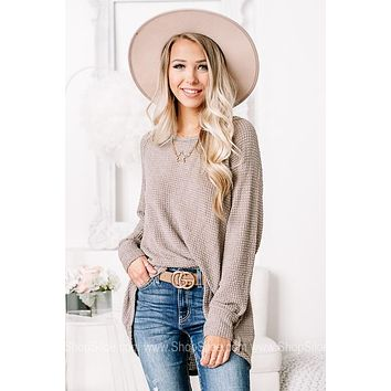 Totally Taupe Sheer Knit Waffle Top