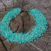 SALE Mint Yellow  necklace multistrand necklace air necklace Bead crochet Necklace lite turquoise yellow seed beads necklace