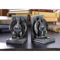 Perched Medieval Dragon With Orbs Bookends