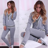 New Fashion Women Sportswear suit sexy v-neck stitching sports Costumes 2 Piece Set tops+pants = 5710885377