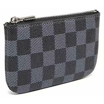 Luxury Zip Checkered Key Chain pouch | PU Vegan Leather Purse Wallet with clasp