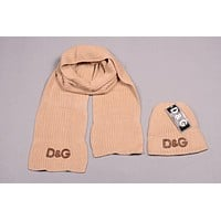 D&G Men's and women's fashion accessories winter warm scarf cover hat two-piece
