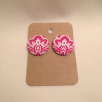 Damask Earrings • Pink Earrings • Damask Print • Pink Damask Print • Gifts For Women • Spring Fashion • Covered Button • Button Earrings