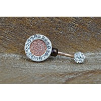 Druzy Rose Gold Belly Button Ring