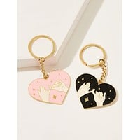 Hand Pattern Heart Shaped Keychain 2pcs