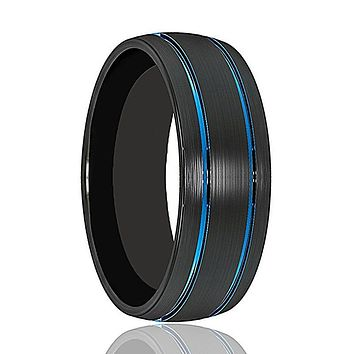 BOLT Domed Black Brushed Tungsten Wedding Band for Men with Dual Blue Offset Grooves - 8MM