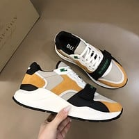 BURBERR* Men Fashion Boots fashionable Casual leather Breathable Sneakers Running Shoes0419qh