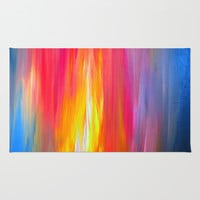 BRIGHT HORIZONS Bold Colorful Rainbow Pink Yellow Blue Abstract Painting Sunrise Sunset Stripes  Rug by EbiEmporium
