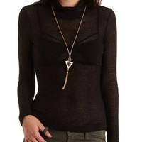 Sheer-Striped Turtleneck Top by Charlotte Russe