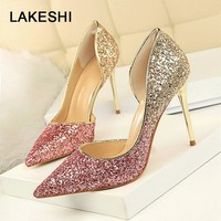 LAKESHI Extreme Women Pumps Bling Wedding Shoes Sexy High Heels Stiletto Gradient Women Heel Shoes Fashion Party Pumps Shoes