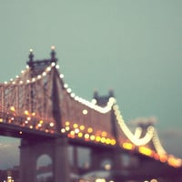 Queensboro Bridge at Night, NYC Art, New York Photography, Mint Green, Lights, Manhattan - The City that Sparkled