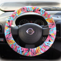 Steering-wheel-cover-for-wheel-car-accessories-Floral-Blue-Wheel-cover