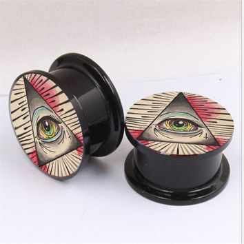 Punk Acrylic Eyes Ear Gauges Plugs Tunnels Screw Fit Expansion Punk Ear Stretched Body Piercing Tunnels Jewelry Party Gift