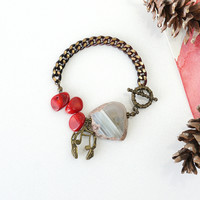 Raw Agate Stone Bracelet with Red Coral and Headphone Music Charms, Music Jewelry