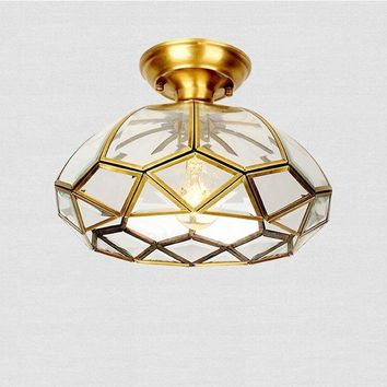 Full copper American style ceiling lamp European style small chandelier entrance light corridor lamp kitchen aisle balcony CL
