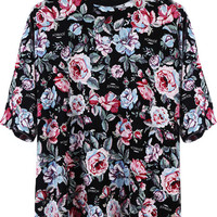 FLORAL AVE BIG TEE / BLACK