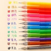 Outop 12 Colors Cartoon Fresh Star Diamond Color Gel Pen