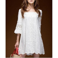 Fashion Women Vestidos Short Sleeve Square Neck Crochet Lace Novelty Cocktail Party Bohemian White Mini Dress Tunic (Size: S, Color: White) = 1928464836