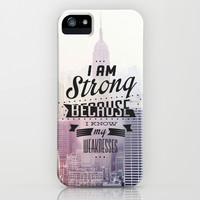 I Am Strong Because I Know My Weaknesses iPhone & iPod Case by Pink Berry Pattern