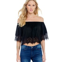 Buffalo David Bitton Faux-Suede Off-The-Shoulder Crop Top | Dillards