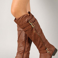 Round Toe Buckle Riding Knee High Boot Color: Tan, Size: 6.5
