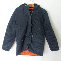 Vintage 1970s Navy JcPenney Faux Fur Hooded Parka