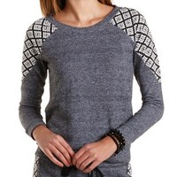 Tribal Print Raglan Sweatshirt by Charlotte Russe - Charcoal