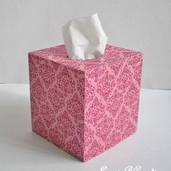 PINK GLITTER DAMASK Tissue Box Cover - Decorative light pink w/ bright pink glitter damask