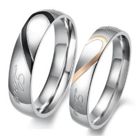"U2U Stainless Steel Couples Engagement ""Real Love""Wedding Bands Ring(available size:7-13) (6, HER SIZE)"