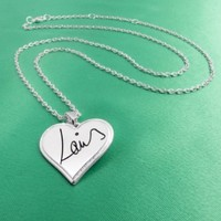 One Direction 'Louis Signature' Heart Necklace:Amazon:Jewelry